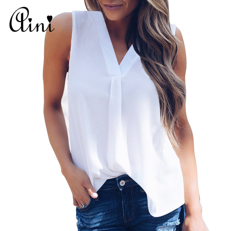 Plus Size 5XL Women Blouse and Tops Summer Top Casual Loose Sleeveless Solid V-neck Chiffon Blouses Female Shirts Vest Blusa