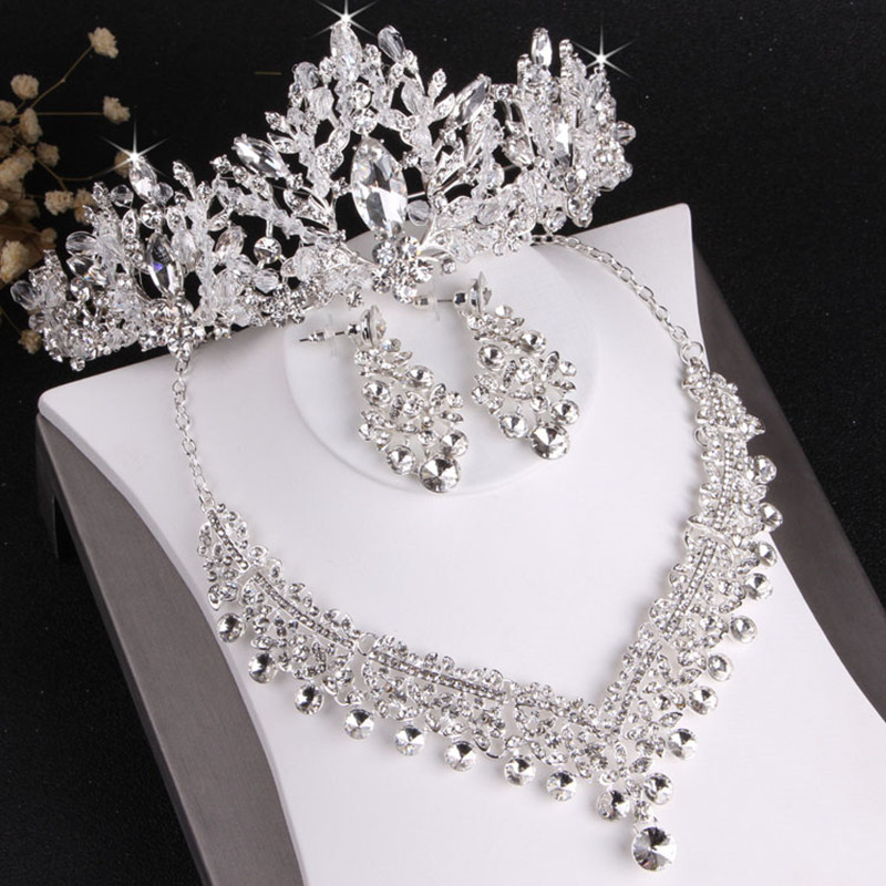 High End Silver Women Hair Jewelry Set Tiaras Necklace Earrings Shiny Diamond Rhinestone Crowns Wedding Party Hair Accessories