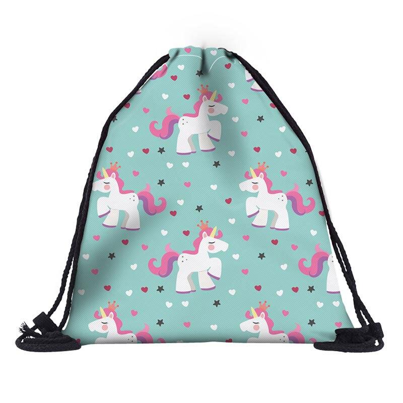 Dropshipping free shipping 1pc Women geometric Backpack 3D printing travel softback women mochila drawstring bag mens