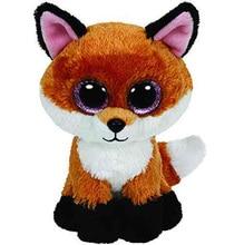 "2015 Ty Beanie Boos Big Eyed Stuffed Animal Brown Slick Fox Plush Doll Kids Toy 6"" Birthday Gift Good Quality Soft Big Eyes L02"