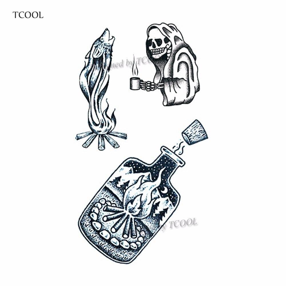 HXMAN Skeleton Temporary Tattoos Waterproof Women Fashion Fake Body Art Arm Tattoo Sticker 10.5X6cm Kids Face Hand Tatoo B-053
