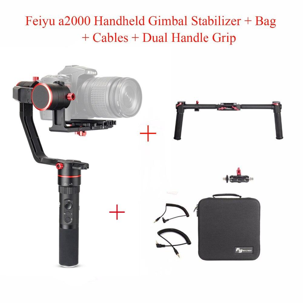 Feiyu a2000 3-Axe Cardan Stabilisateur pour Canon 5D Série/SONY A7 Série a6500, pour Panasonic GH4/GH5, Feiyu Tech + Double Poignée