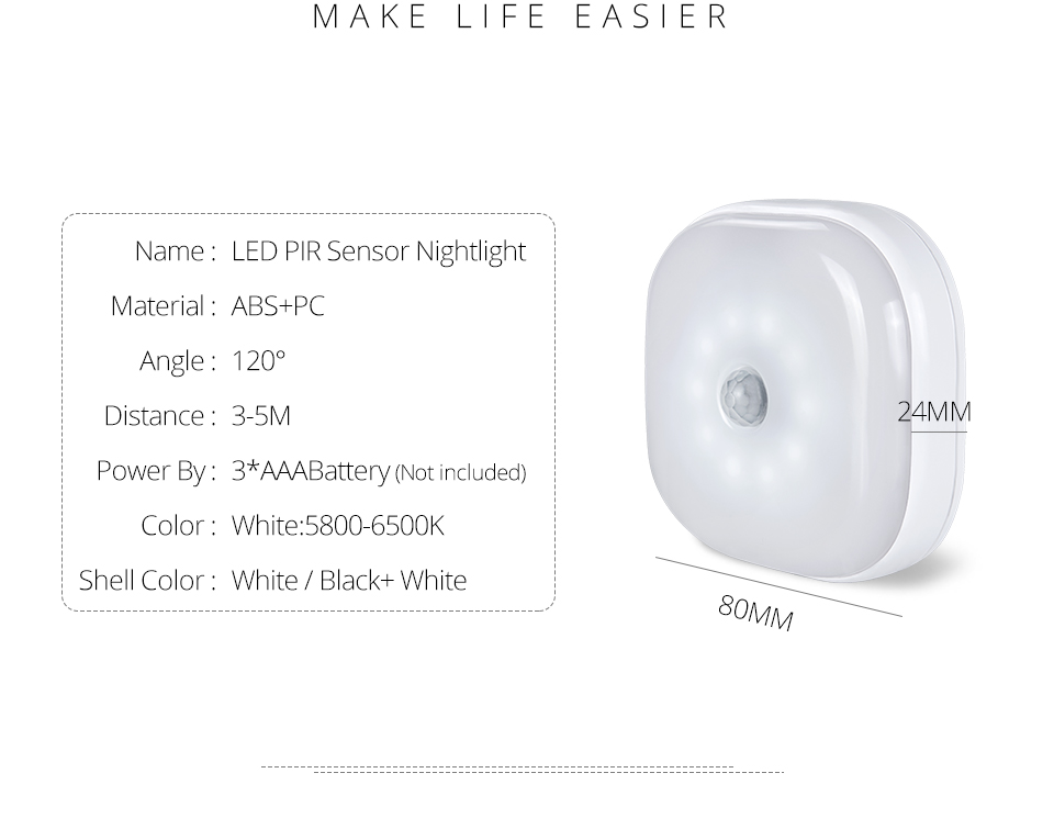 Under Cabinet Light PIR Motion Sensor Wireless Wall Lamp Smart LED Light Warbrobe Ceiling Closet Emergency Bedroom Kitchen Light (2)
