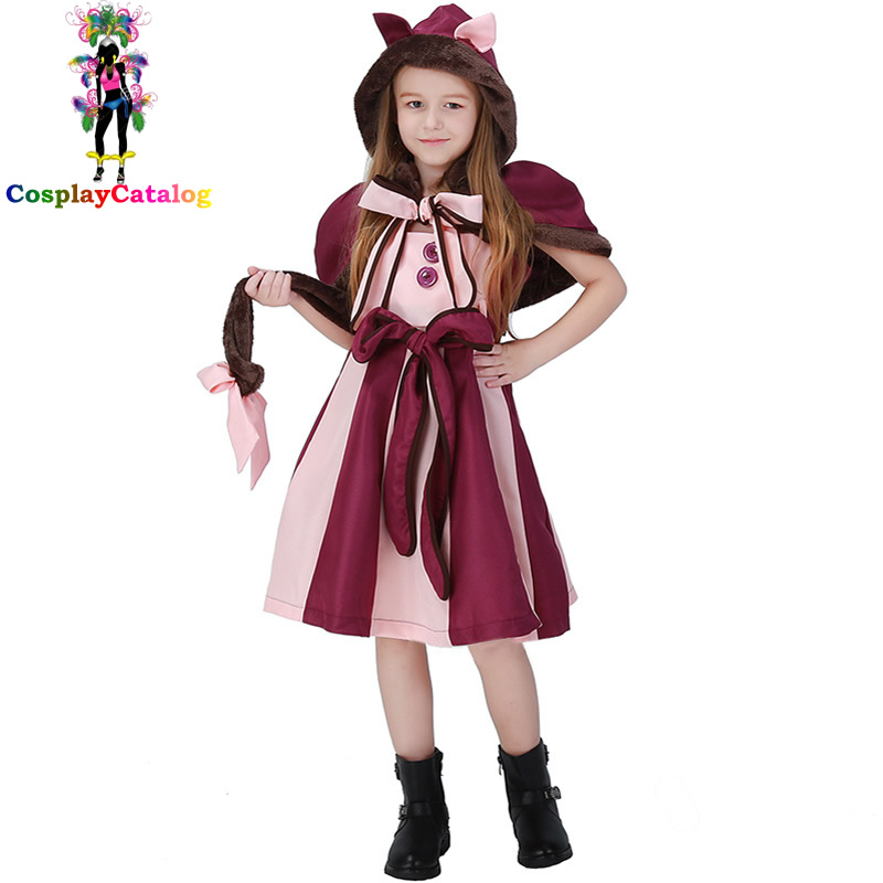 New Alice in Wonderland Girl Cat Cosplay Costume Child Purple Dresses Kids Halloween Costumes Size 110-150cm Carnival Clothes