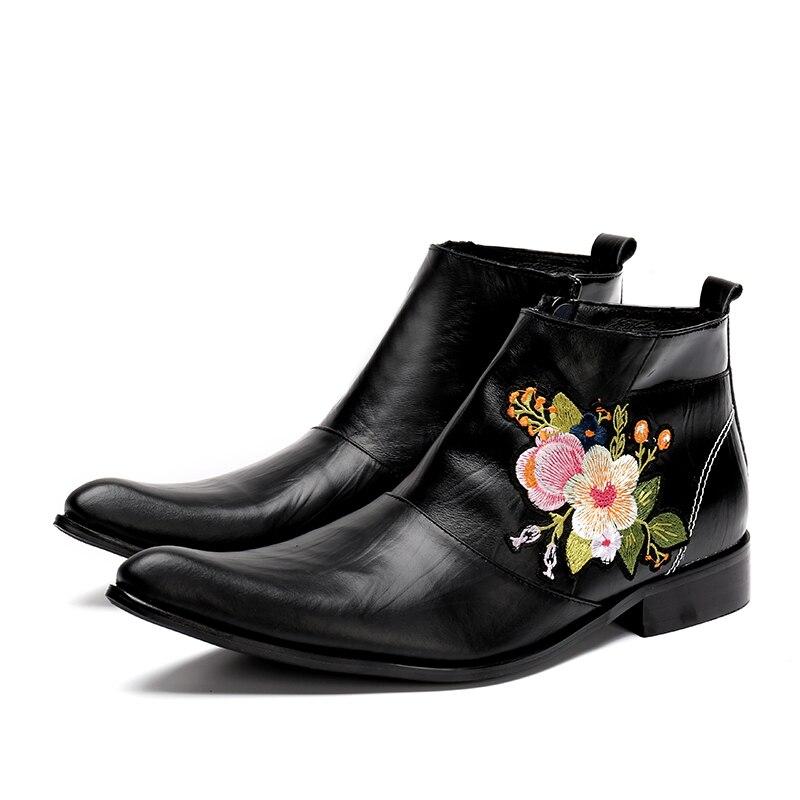 Batzuzhi New Western Cowboy Boot Men Black Leather Boots for Men with Embroidery Flowers Nightclub High-heeled Boots Autumn Bota wool felt cowboy hat stetson black 50cm