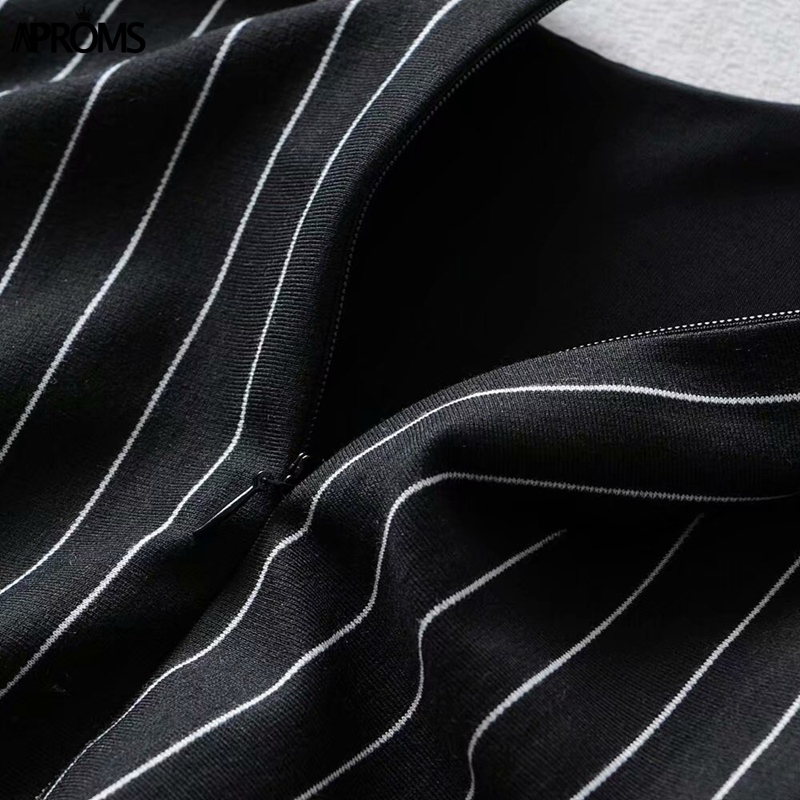 Aproms Black Stripes Pinafore Mini Dress Women Summer Sexy Streerwear Tie Up Shoulder Dresses Side Split Sundresses Vestido 2019 in Dresses from Women 39 s Clothing