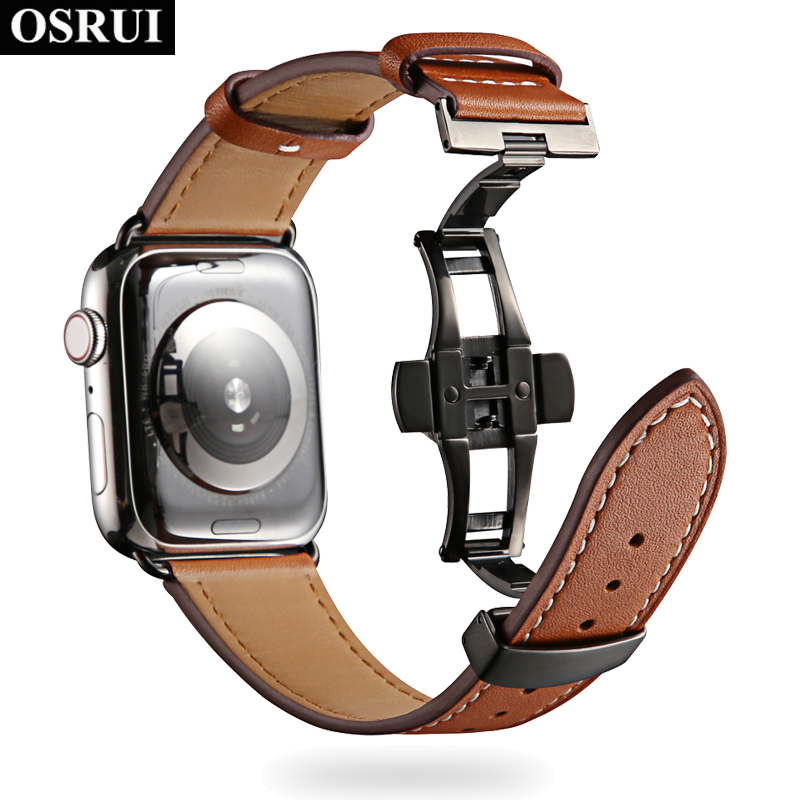 Butterfly buckle Leather strap for apple watch band correa 4 44mm 40mm Iwatch 42mm 38mm wrist belt series 3 2 1 AccessoriesButterfly buckle Leather strap for apple watch band correa 4 44mm 40mm Iwatch 42mm 38mm wrist belt series 3 2 1 Accessories