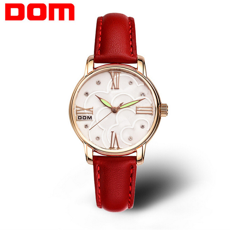 DOM Quartz Women Watches Top Brand Luxury 2016 Wristwatch Female Clock Waterproof Wrist Watch Lady Montre Femme Relogio Feminino luxury top brand guanqin watches fashion women rhinestone vintage wristwatch lady leather quartz watch female dress clock hours