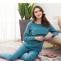 Fashion Maternity Clothes Sleepwear Breast feeding Homewear Nursing Pajamas set for Pregnant Women Winter thermal underwear set