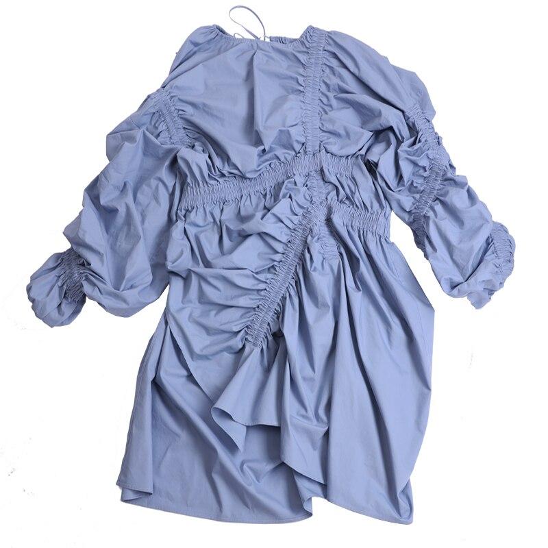 SHENGPALAE 2019 nouveau printemps été col rond à manches longues bleu pli élastique fendu irrégulière grande taille robe femmes mode JG803 - 6