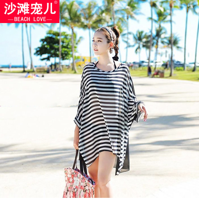 Chiffon Beach Coats Clothes Swimsuits outside Bikini blouses Sun protection clothing womens long section seaside holiday