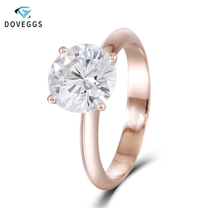 Image 1 - DovEggs Solid 14K 585 Rose Gold 2.5ct carat 8.5mm F Color Lab Created Moissanite Diamond Solitaire Engagement Rings For Women