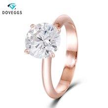 DovEggs stałe 14 K 585 różowe złoto 2.5ct carat 8.5mm F kolor stworzony w laboratorium Moissanite diamentowy pasjans pierścionki zaręczynowe dla kobiety