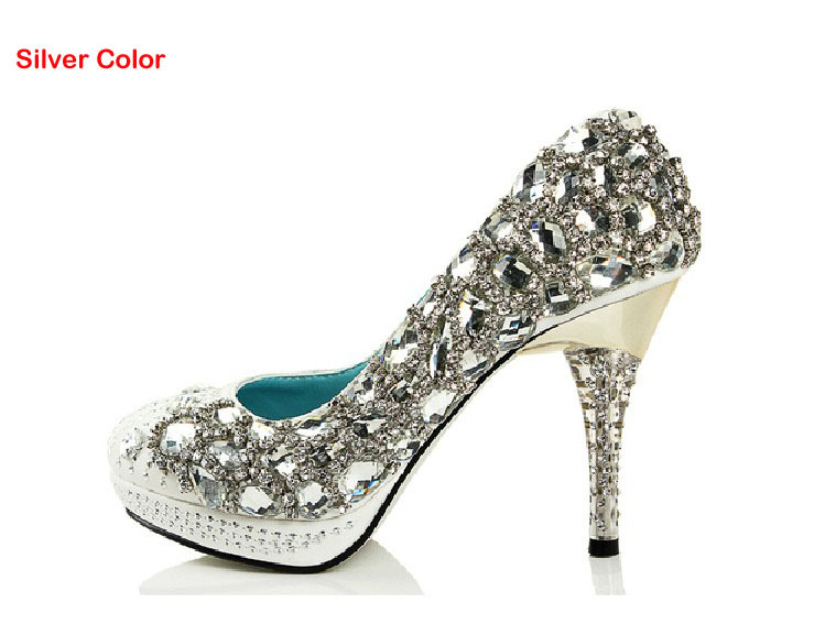 Sparkling Lady Party Prom Dress Shoes High Heel Wedding Dress Shoes Gorgeous Rhinestone Bridal Dress Shoe Crystal  Plus Size beautiful fashion blue wedding shoes for woman rhinestone bridal dress shoes lady high heel luxurious party prom shoes