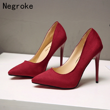 New Fashion Women Shoes Pointed Toe Pumps Flock Slip-On Shallow Party Wedding Shoes Woman Stiletto High Heels Chaussures Femme