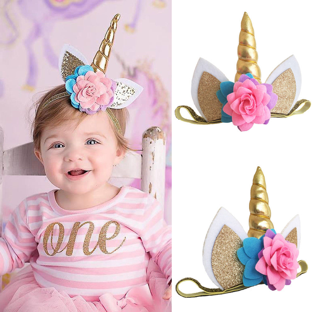 Glitter Magical Unicorn Horn Hairband Headband Dress Kids Birthday Party New