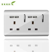 DULHA UK 13A Double Wall Socket 2 Gang Electrical Power Switched Socket With 4 USB Plug Ports Quick Charger Outlet Port UK Plug