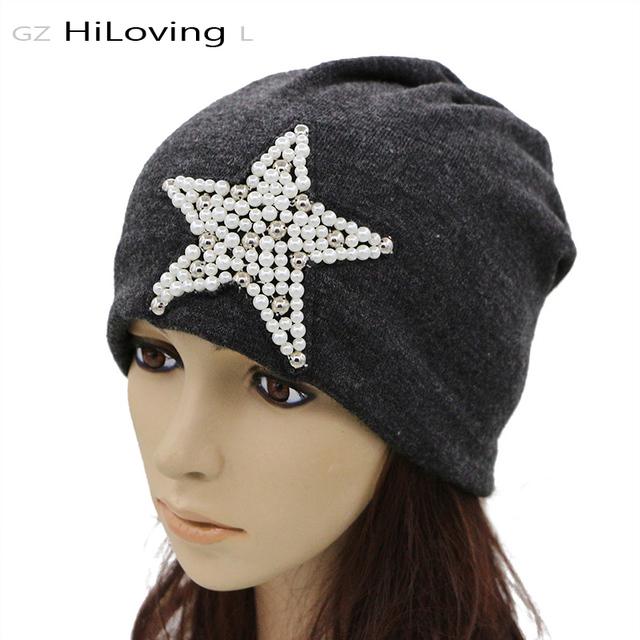 GZHilovingL Primavera Estrela Pérola Slouch Beanie Hat Para Mulheres Algodão Macio Solto Slouchy Chapéus Para Mulheres Senhoras Inverno pentagrama Chapéus