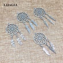 Metal Alloy Silver Jewelry Charms 10pcs/lot Vintage Tree Leaf Feather Wings Dream Catcher Necklace Pendant For Diy Make DIY001