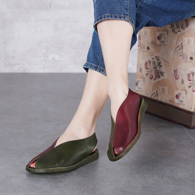 2019 Summer New Original Flat Shoes Women Sandals Fish Mouth Mixed Color Female Leather Soft Bottom