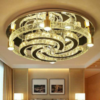 Round bubble column crystal ceiling lamp modern simple atmospheric LED ceiling lamp warm and romantic bedroom ceiling lamp
