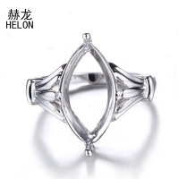 16x9mm Marquise Shape Semi Mount Fine Silver Ring 925 Sterling Silver Engagement Wedding Ring Fine Jewelry Setting