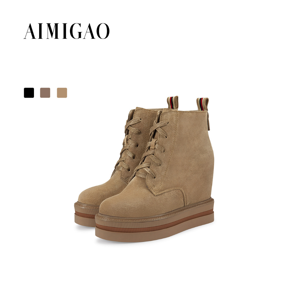 где купить AIMIGAO Fashion Lace-up ankle boots Brown 2017 winter new cow suede round toe height increased platform ankle boots side zipper по лучшей цене