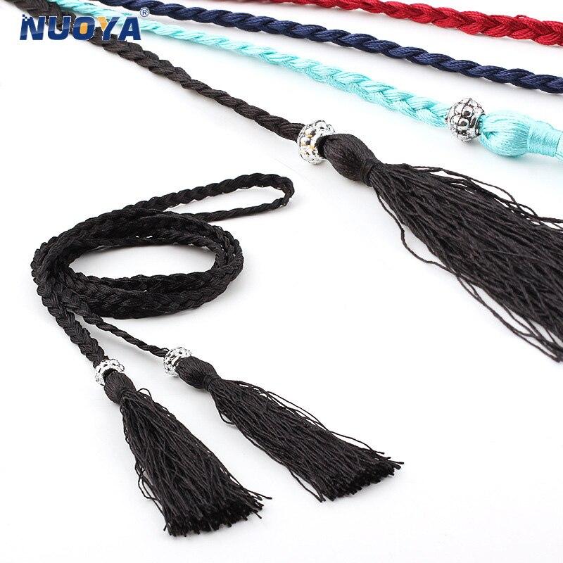 Braided Style Waist Belts For Women Weave Waist Rope Dress Decoration Belt Hand-knit Long Tassel Knot Braid Waist Chain Z173
