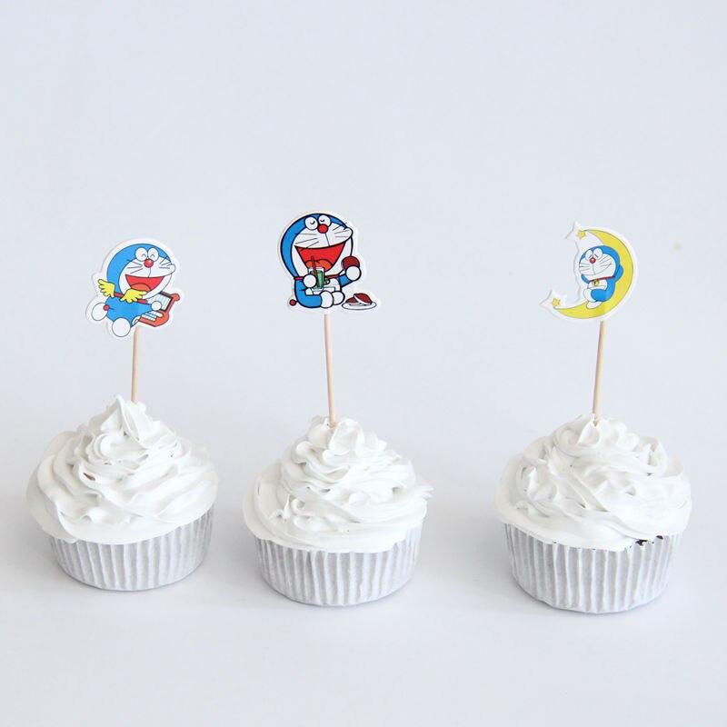 24 pcs/lot Cake Picks Doraemon Cupcake Toppers Picks for Birthday Decorations Party Cake Decoration Favor