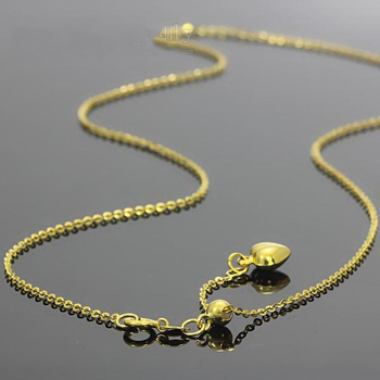 New Au750 Pure 18K Yellow Gold Chain Women O Link Necklace Adjustable 18inch 4