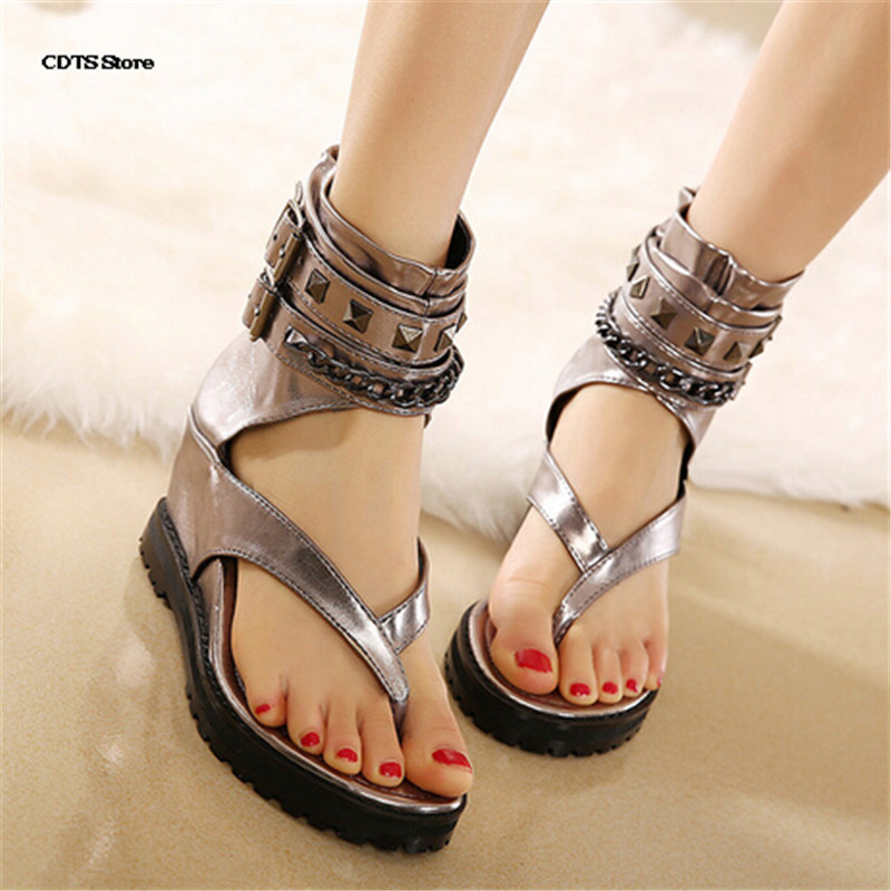 CDTS Summer fashion casual womens wedges shoes fashion flip-flop sandals personality female elevator buckle women pumps