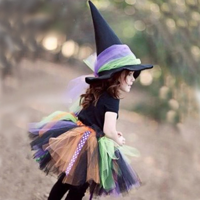 Cute Halloween Party Children Girl Cosplay Witch Costume For Kids Halloween Costume Carnival Party Witch Dress Set Free with Hat кроссовки asicstiger asicstiger as009aujhk94