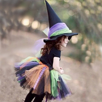 Cute Halloween Party Children Girl Cosplay Witch Costume For Kids Halloween Costume Carnival Party Witch Dress Set Free with Hat