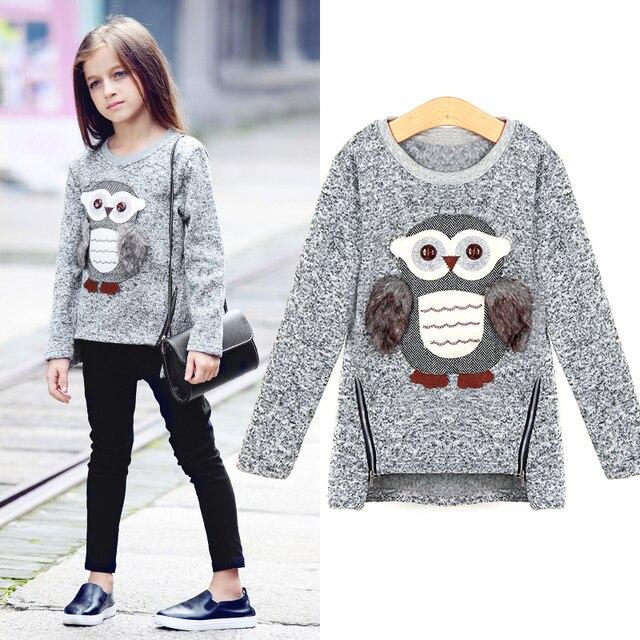 8473782fbfe Girls Fleece Lined Zipper sweater Cartoon Cute Owl Casual Cotton Girls  Winter Clothes girls sweater for 6 7 8 9 10 12 14 years4