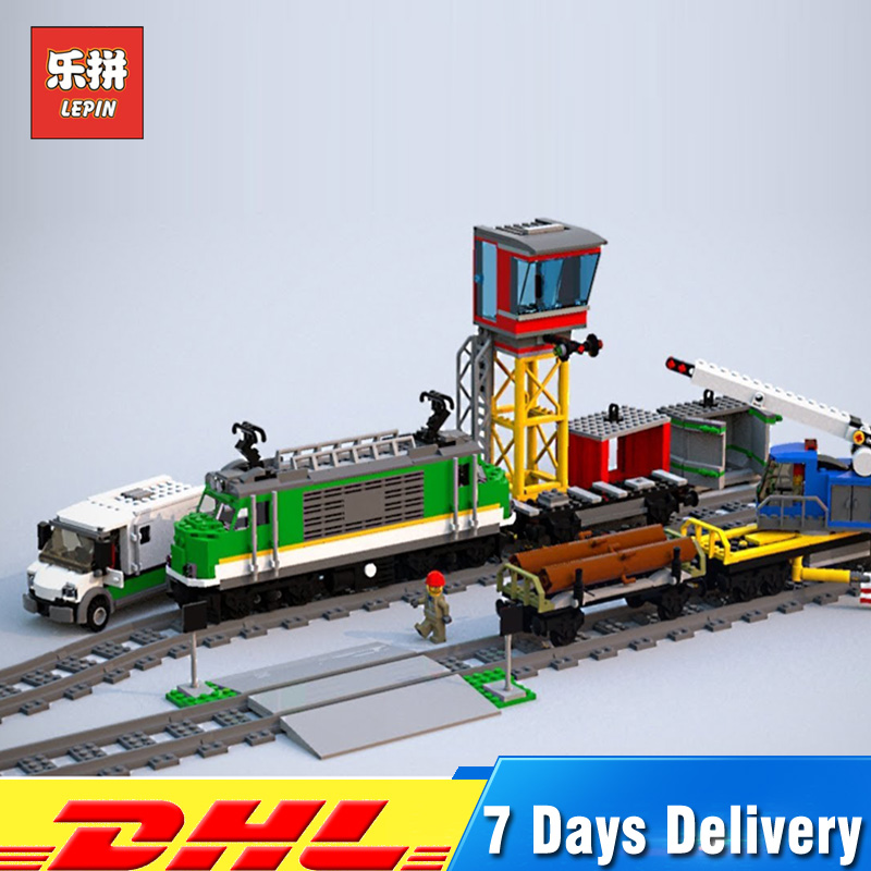 Lepin 02118 1373Pcs City Toys Series RC Cargo Train Set with Power Function Building Blocks Bricks Toys Compatible 60198 2018 lepin 02118 city series rc cargo train set compatible legoinglys 60198 city train building blocks bricks toys for children