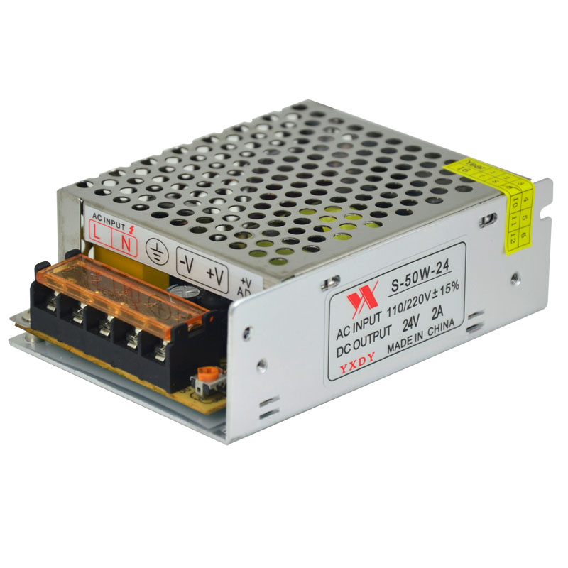 AC 220V to DC 24V Switching Power Supply, 2A Transformer 50W Adapter, Motor LED Controller bty 12v 4 2a 50w switching power supply silver black 110 220v