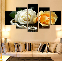 2017 New Fashion 5 Pieces HD White Rose Pictures Home Decoration Bed Room Canvas Print Paintings Unframed Wall Art Pictures
