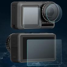 الزجاج المقسى عدسة LCD واقي للشاشة فيلم واقية غطاء كامل ل DJI oomo عمل كاميرا رياضية حماية الحرس التبعي