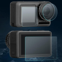 เลนส์กระจกนิรภัยป้องกันหน้าจอ LCD ป้องกันฟิล์มเต็มรูปแบบสำหรับ DJI OSMO กล้องกีฬาป้องกันอุปกรณ์เสริม
