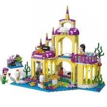 Совместимые Legoing строительные блоки для девочек сборные игрушки Русалка Дисней Принцесса Ариэль подводный дворец 41063