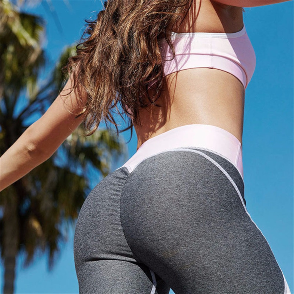 2017 Fashion New Womens Fast-drying Leggings Fashion Ankle-Length Breathable Fitness Leggings Pink White Patchwork Leggins Pants