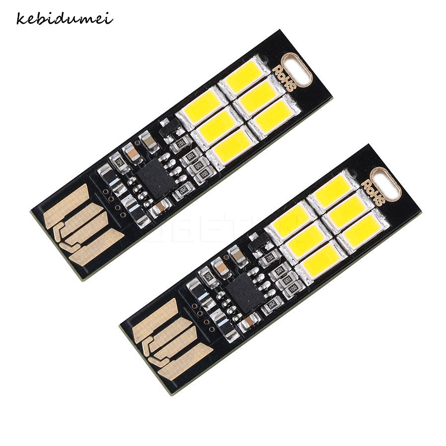 Kebidumei Mini Pocket Card Usb Power 6 Led Keychain Night Light 1w 5v Touch Dimmer Warm Light For Power Bank Computer Laptop Usb Gadgets