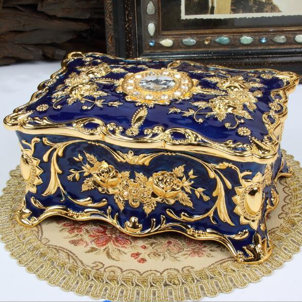 Grande taille Vintage fleur sculpté boîte à bijoux multi-couleurs émaillé avec des pierres décor collier pendentif anneaux cadeaux mallette de rangement - 2
