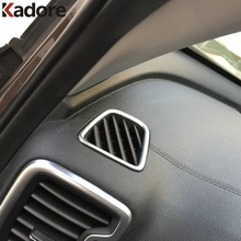Car Front Air Condition Vents Frame Decorative Cover Trim Interior Air Outlet ABS Matte Strip For KIA Sportage 2016 2017