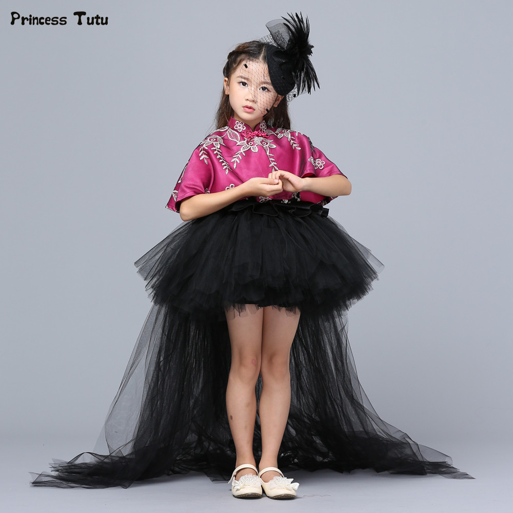 Custom Girls Formal Dresses Removable Long Train Girls Pageant Party Dresses Black Kids Princess Ball Gown Tutu Dress With Cloak