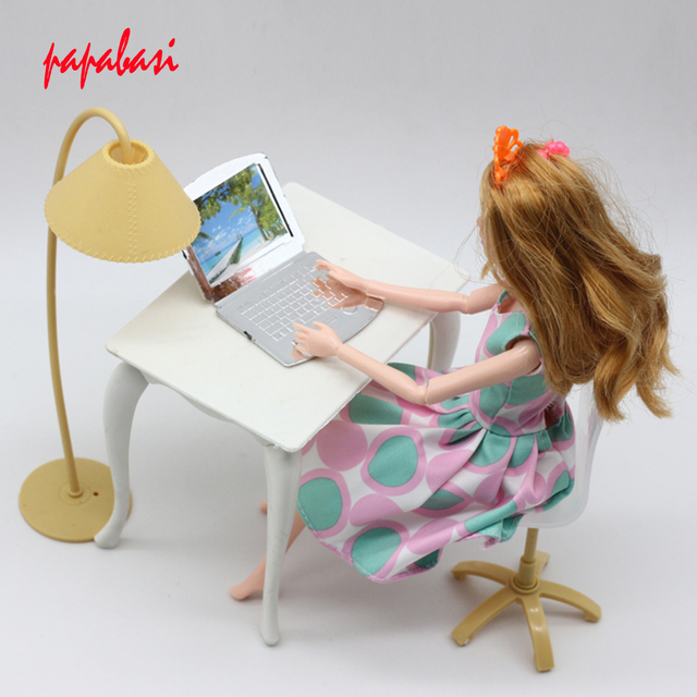 Mix Color Doll Play House Furniture Desk Lamp Laptop Chair Accessories For