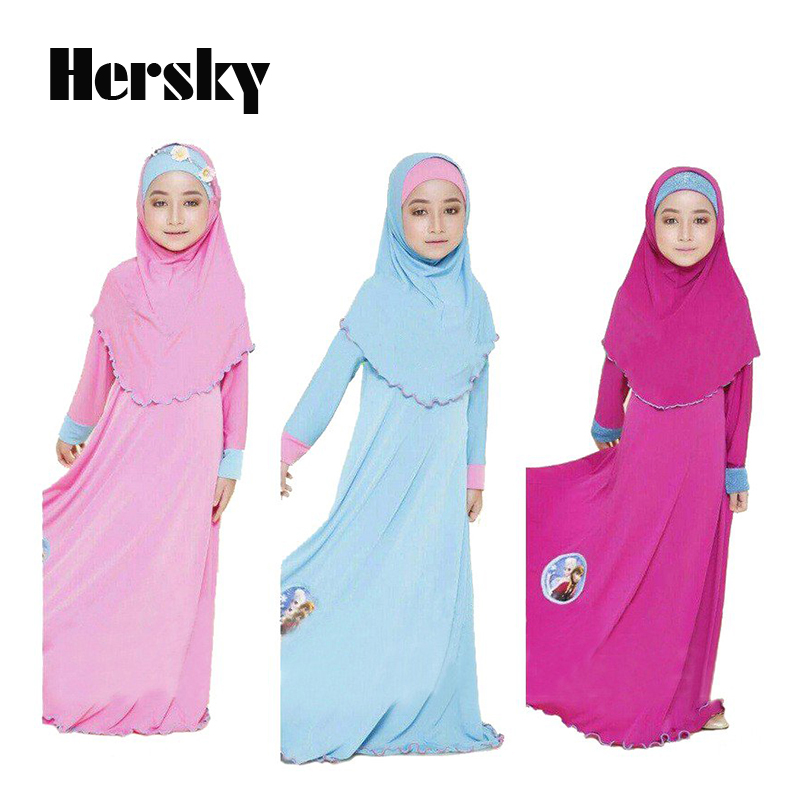 Two sets Traditional cartoon Kids clothing Fashion Child Abaya Muslim Girl dress jilbab and abaya islamic