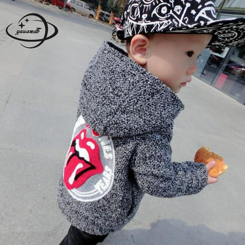 YAUAMDB kids wool coats 2018 autumn winter 3-9Y cotton boys girls Blends jackets hooded streetwear children outerwear clothes 35