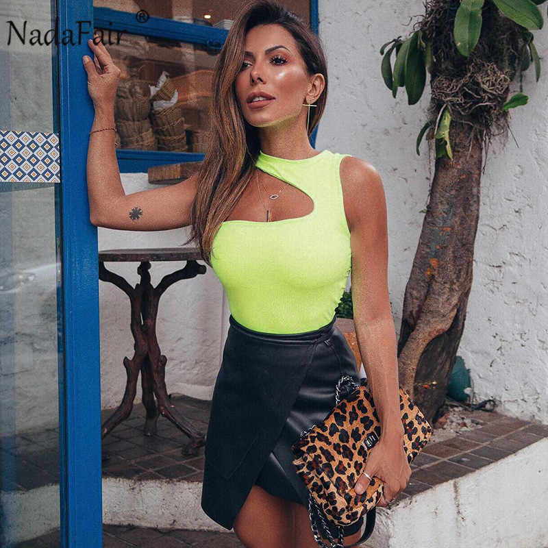 Nadafair, летнее сексуальное боди с завязками, женские комбинезоны, неоновые, зеленые, черные, на одно плечо, однотонное, облегающее боди, женские сексуальные летние топы