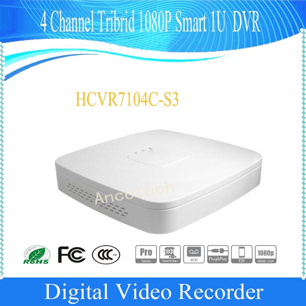 Free Shipping Original English DAHUA 4Ch Support HDCVI CVBS IP video input Tribrid 1080P Smart 1U HDCVI DVR No Logo HCVR7104C-S3